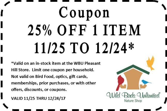 Wild Birds Unlimited | Coupon - Black Friday Weekend 11-17 ...
